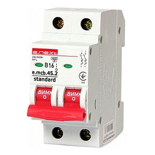 Фото Двухполюсный автоматический выключатель 2р, 16А, В, 4.5 кА, e.mcb.stand.45.2.B16 Электробаза