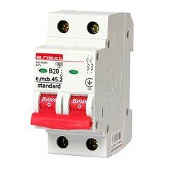 Двухполюсный автоматический выключатель 2р, 20А, В, 4.5 кА, e.mcb.stand.45.2.B20