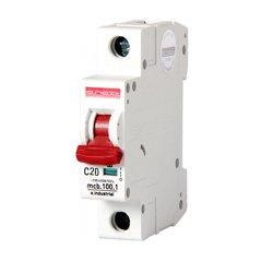 Однополюсный автоматический выключатель, 1 р, 20А, C, 10кА, e.industrial.mcb.100.1.C20