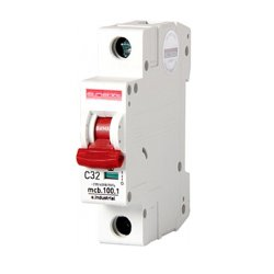 Однополюсный автоматический выключатель, 1 р, 32А, C, 10кА, e.industrial.mcb.100.1.C32