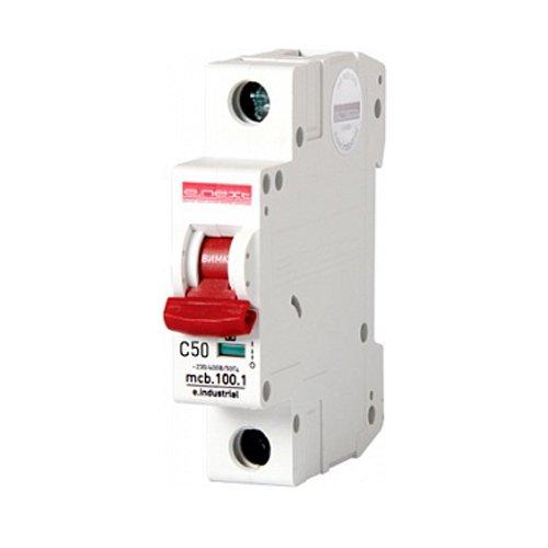 Фото Однополюсный автоматический выключатель, 1 р, 50А, C, 10кА, e.industrial.mcb.100.1.C50 Электробаза