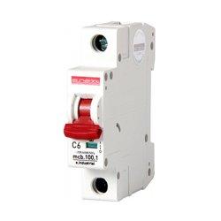 Однополюсный автоматический выключатель, 1 р, 6А, C, 10кА, e.industrial.mcb.100.1.C6