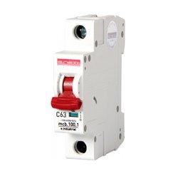 Однополюсный автоматический выключатель, 1 р, 63А, C, 10кА, e.industrial.mcb.100.1.C63