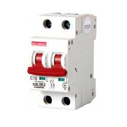 Двухполюсный автоматический выключатель, 2 р, 10А, C, 10кА, e.industrial.mcb.100.2.C10