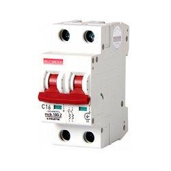 Двухполюсный автоматический выключатель, 2 р, 16А, C, 10кА, e.industrial.mcb.100.2.C16