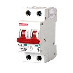 Двухполюсный автоматический выключатель, 2 р, 20А, C, 10кА, e.industrial.mcb.100.2.C20