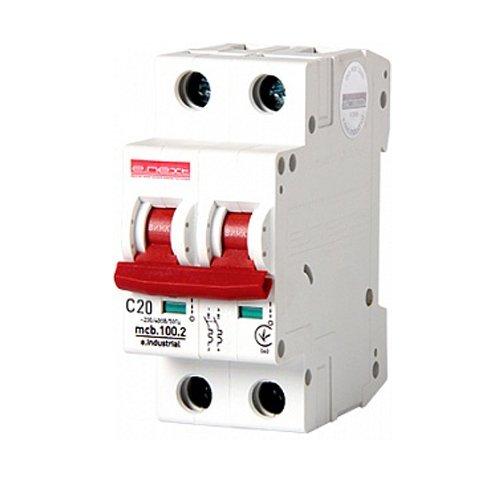 Фото Двухполюсный автоматический выключатель, 2 р, 20А, C, 10кА, e.industrial.mcb.100.2.C20 Электробаза