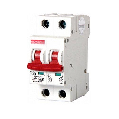 Фото Двухполюсный автоматический выключатель, 2 р, 25А, C, 10кА, e.industrial.mcb.100.2.C25 Электробаза