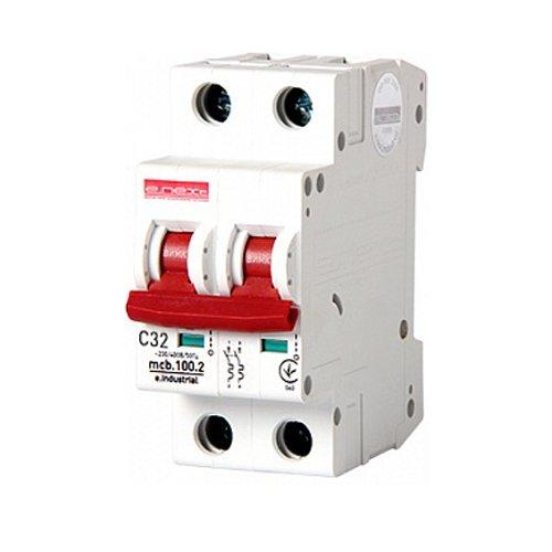 Фото Двухполюсный автоматический выключатель, 2 р, 32А, C, 10кА, e.industrial.mcb.100.2.C32 Электробаза