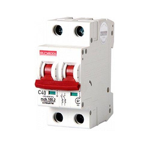 Фото Двухполюсный автоматический выключатель, 2 р, 40А, C, 10кА, e.industrial.mcb.100.2.C40 Электробаза