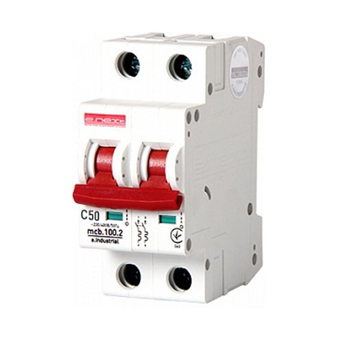 Фото Двухполюсный автоматический выключатель, 2 р, 50А, C, 10кА, e.industrial.mcb.100.2.C50 Электробаза