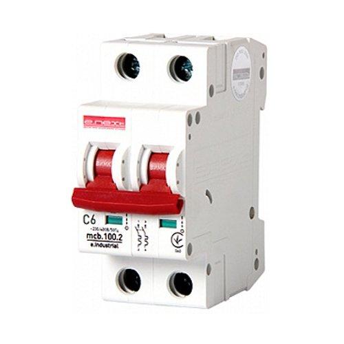 Фото Двухполюсный автоматический выключатель, 2 р, 6А, C, 10кА, e.industrial.mcb.100.2.C6 Электробаза