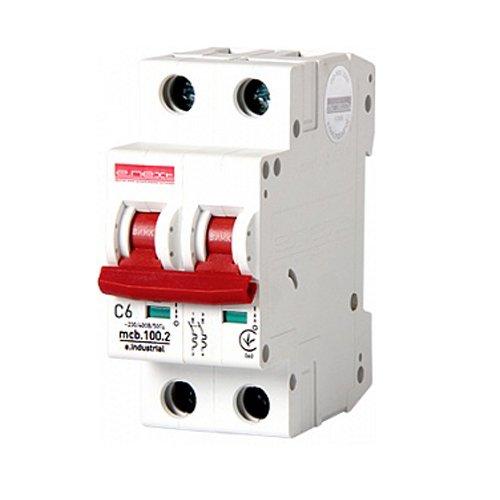 Фото Двухполюсный автоматический выключатель, 2 р, 63А, C, 10кА, e.industrial.mcb.100.2.C63 Электробаза