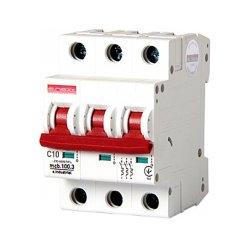 Трёхполюсный автоматический выключатель, 3 р, 10А, C, 10кА, e.industrial.mcb.100.3.C10