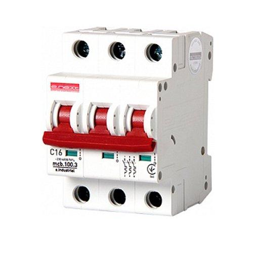 Фото Трёхполюсный автоматический выключатель, 3 р, 16А, C, 10кА, e.industrial.mcb.100.3.C16 Электробаза