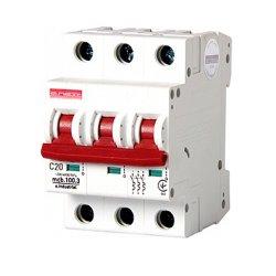 Трёхполюсный автоматический выключатель, 3 р, 20А, C, 10кА, e.industrial.mcb.100.3.C20