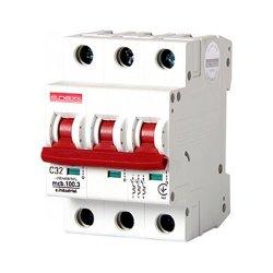 Трёхполюсный автоматический выключатель, 3 р, 32А, C, 10кА, e.industrial.mcb.100.3.C32