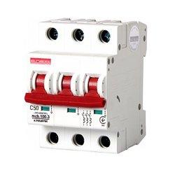Трёхполюсный автоматический выключатель, 3 р, 50А, C, 10кА, e.industrial.mcb.100.3.C50