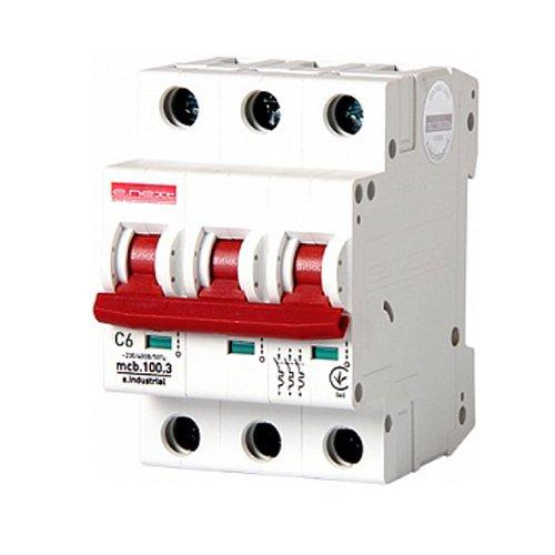 Фото Трёхполюсный автоматический выключатель, 3 р, 6А, C, 10кА, e.industrial.mcb.100.3.C6 Электробаза