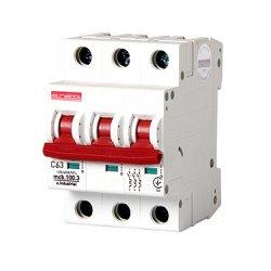 Трёхполюсный автоматический выключатель, 3 р, 63А, C, 10кА, e.industrial.mcb.100.3.C63