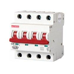 Четырёхполюсный автоматический выключатель, 4 р, 20А, C, 10кА, e.industrial.mcb.100.4.C20
