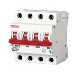 Четырёхполюсный автоматический выключатель, 4 р, 40А, C, 10кА, e.industrial.mcb.100.4.C40
