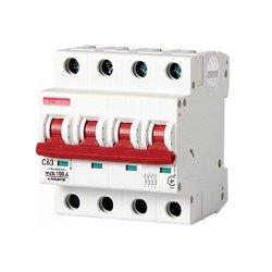 Четырёхполюсный автоматический выключатель, 4 р, 63А, C, 10кА, e.industrial.mcb.100.4.C63