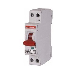 Двухполюсный автоматический выключатель, 1р+N, 16А, C, 10кА, e.industrial.mcb.60.1N.C16.thin