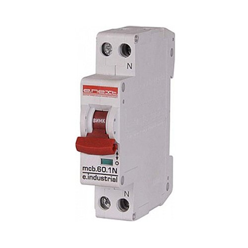 Фото Двухполюсный автоматический выключатель, 1р+N, 20А, C, 10кА, e.industrial.mcb.60.1N.C20.thin Электробаза