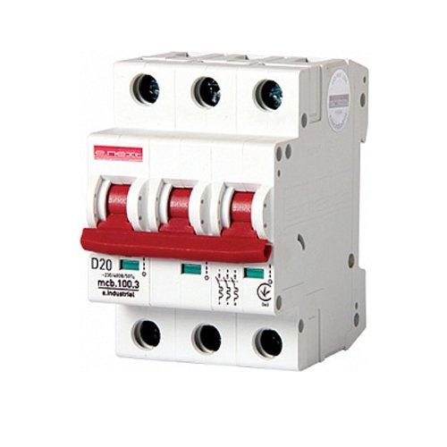 Фото Трёхполюсный автоматический выключатель, 3р, 20А, D, 10кА, e.industrial.mcb.100.3.D.20 Электробаза