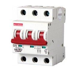 Трёхполюсный автоматический выключатель, 3р, 25А, D, 10кА, e.industrial.mcb.100.3.D.25