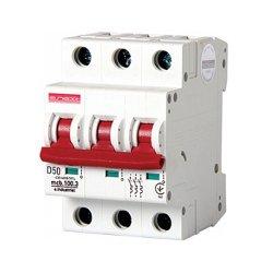 Трёхполюсный автоматический выключатель, 3р, 50А, D, 10кА, e.industrial.mcb.100.3.D.50