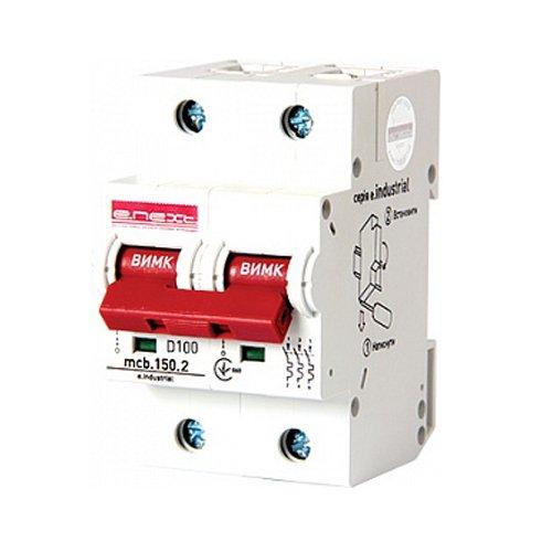 Фото Двухполюсный автоматический выключатель, 2р, 100А, D, 15kA, e.industrial.mcb.150.2.D100 Электробаза