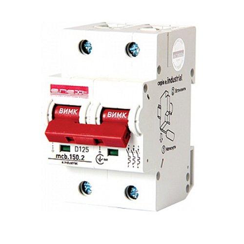 Фото Двухполюсный автоматический выключатель, 2р, 125А, D, 15kA, e.industrial.mcb.150.2.D125 Электробаза