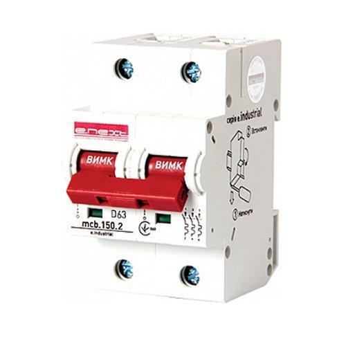 Фото Двухполюсный автоматический выключатель, 2р, 63А, D, 15kA, e.industrial.mcb.150.2.D63 Электробаза
