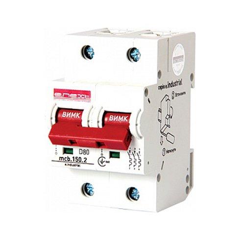 Фото Двухполюсный автоматический выключатель, 2р, 80А, D, 15kA, e.industrial.mcb.150.2.D80 Электробаза