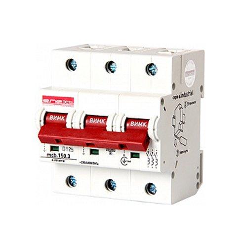 Фото Трёхполюсный автоматический выключатель, 3р, 125А, D, 15kA, e.industrial.mcb.150.3.D125 Электробаза