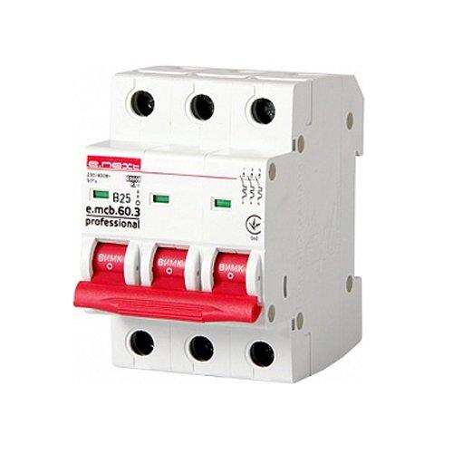 Фото Трёхфазный автоматический выключатель 3р, 25А, В, 6кА, new, e.mcb.pro.60.3.B 25 new Электробаза