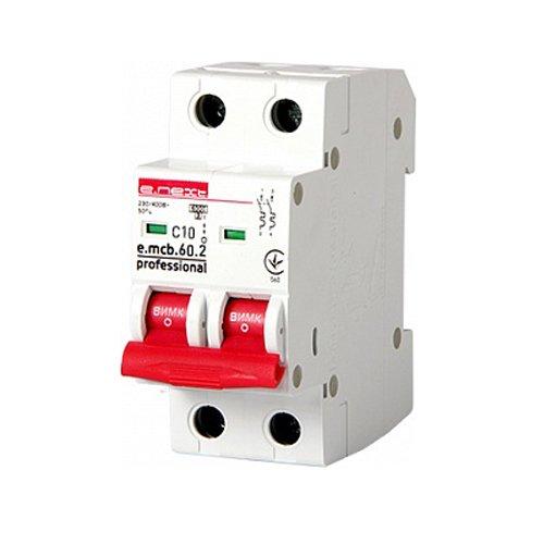 Двухполюсный автоматический выключатель 2р, 10А, C, 6кА new, e.mcb.pro.60.2.C 10 new