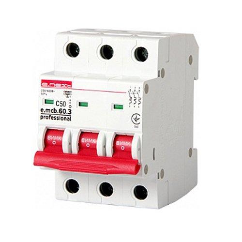 Фото Трёхфазный автоматический выключатель 3р, 50А, C, 6кА new, e.mcb.pro.60.3.C 50 new Электробаза