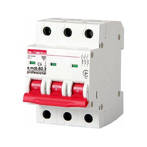 Фото Трёхфазный автоматический выключатель 3р, 6А, C, 6кА new, e.mcb.pro.60.3.C 6 new Электробаза