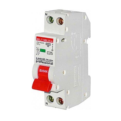 Фото Модульный автоматический выключатель 1р+N, 20А, C, 4,5кА, тонкий, e.mcb.pro.60.1N.С20.thin Электробаза