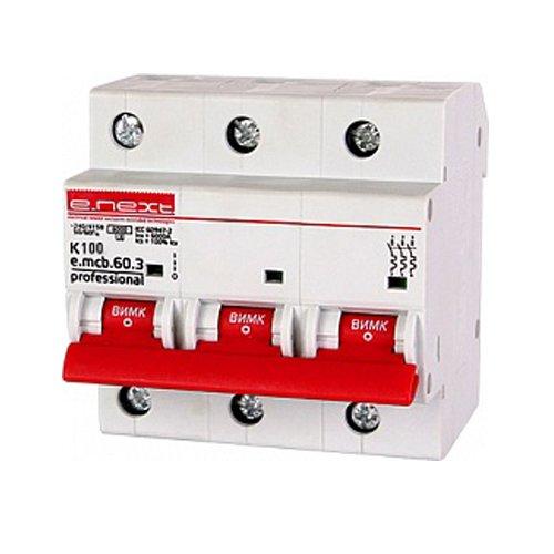 Фото Трёхфазный автоматический выключатель 3р, 100А, K, 6кА new, e.mcb.pro.60.3.K 100 new Электробаза