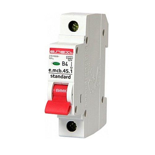 Фото Однополюсный автоматический выключатель 1р, 4А, В, 3,0 кА, e.mcb.stand.45.1.B4 Электробаза