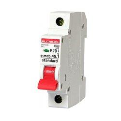 Однополюсный автоматический выключатель 1р, 20А, В, 4.5 кА, e.mcb.stand.45.1.B20
