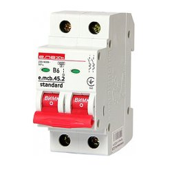 Двухполюсный автоматический выключатель 2р, 6А, В, 4.5 кА, e.mcb.stand.45.2.B6