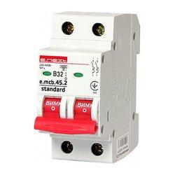 Двухполюсный автоматический выключатель 2р, 32А, В, 4.5 кА, e.mcb.stand.45.2.B32