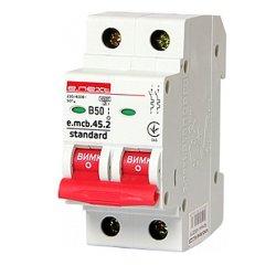 Двухполюсный автоматический выключатель 2р, 50А, В, 3,0 кА, e.mcb.stand.45.2.B50
