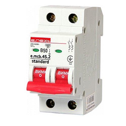 Фото Двухполюсный автоматический выключатель 2р, 50А, В, 3,0 кА, e.mcb.stand.45.2.B50 Электробаза