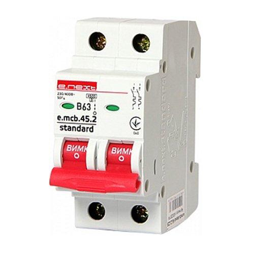 Фото Двухполюсный автоматический выключатель 2р, 63А, В, 3,0 кА, e.mcb.stand.45.2.B63 Электробаза